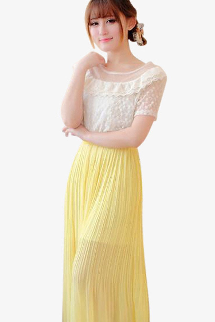 Lace bow white and yellow long dress discover kfashion jpop