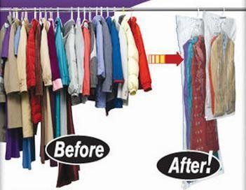 5 Pack Large Vacuum Seal Hanging Garment Bags E Saver Saving Suit Storage Bag