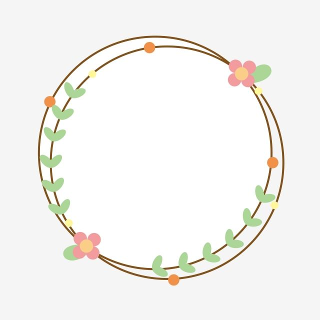 Floral Border Cartoon Border Lovely Hand Drawn Style Flowers Frame Round Frame Dialog Hand Accou Floral Border Flower Border Clipart Happy New Year Calligraphy