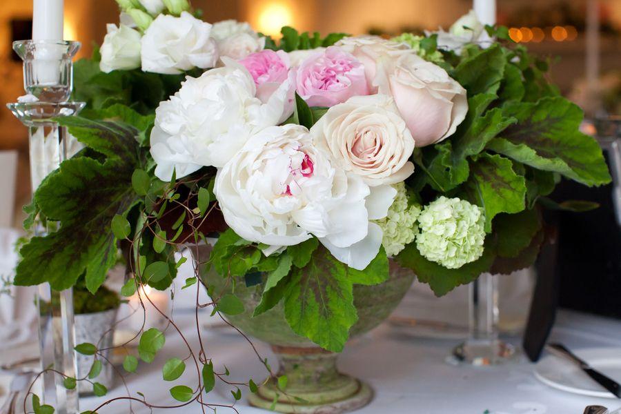 Peony pink rose hydrangea rustic centerpiece