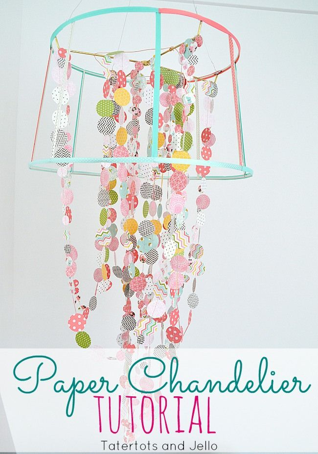 Paper and Ribbon Chandelier Tutorial! -- Tatertots and Jello #DIY  You can use Christmas wrappers, ribbons and Christmas cards for this project!