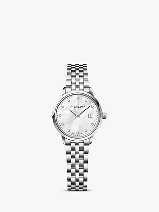 Raymond Weil 5988-ST-97081 Women's Mother of Pearl Diamond Stainless Steel Bracelet Strap Watch, Silver at John Lewis & Partners