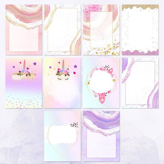10 Unicorn Invitation Backgrounds Fairy Tale Textures