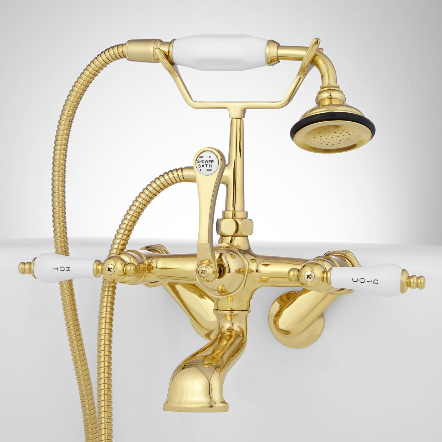 Tub Wall-Mount Telephone Faucet with Hand Shower - Porcelain Lever Handle - Polished Brass