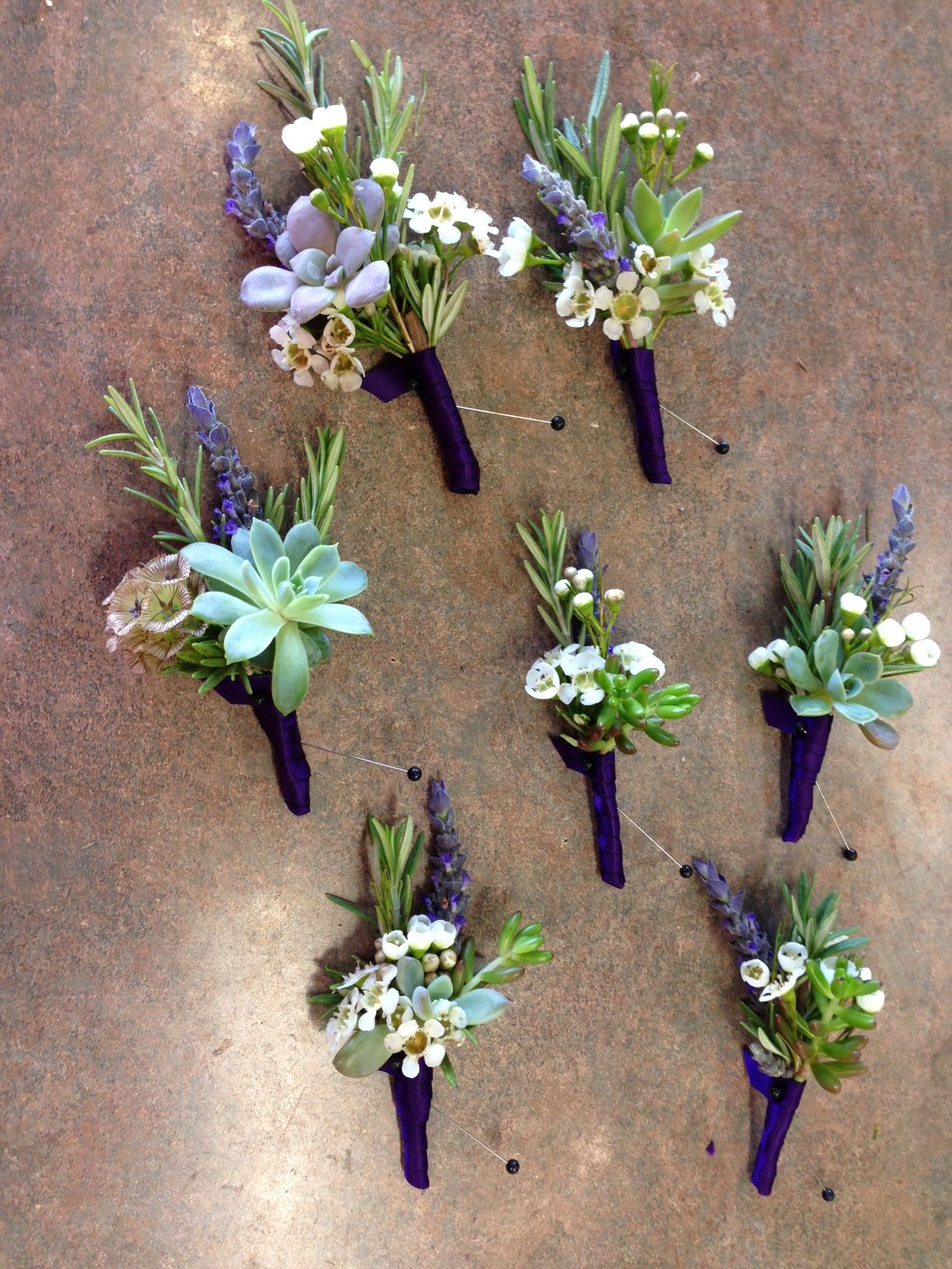 Succulent Boutonnieres With Lavender Rosemary And White Wax Flower