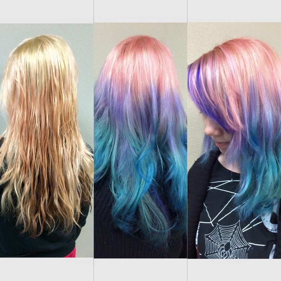 unicorn ombr233 hair in pink purple and blue haircolor