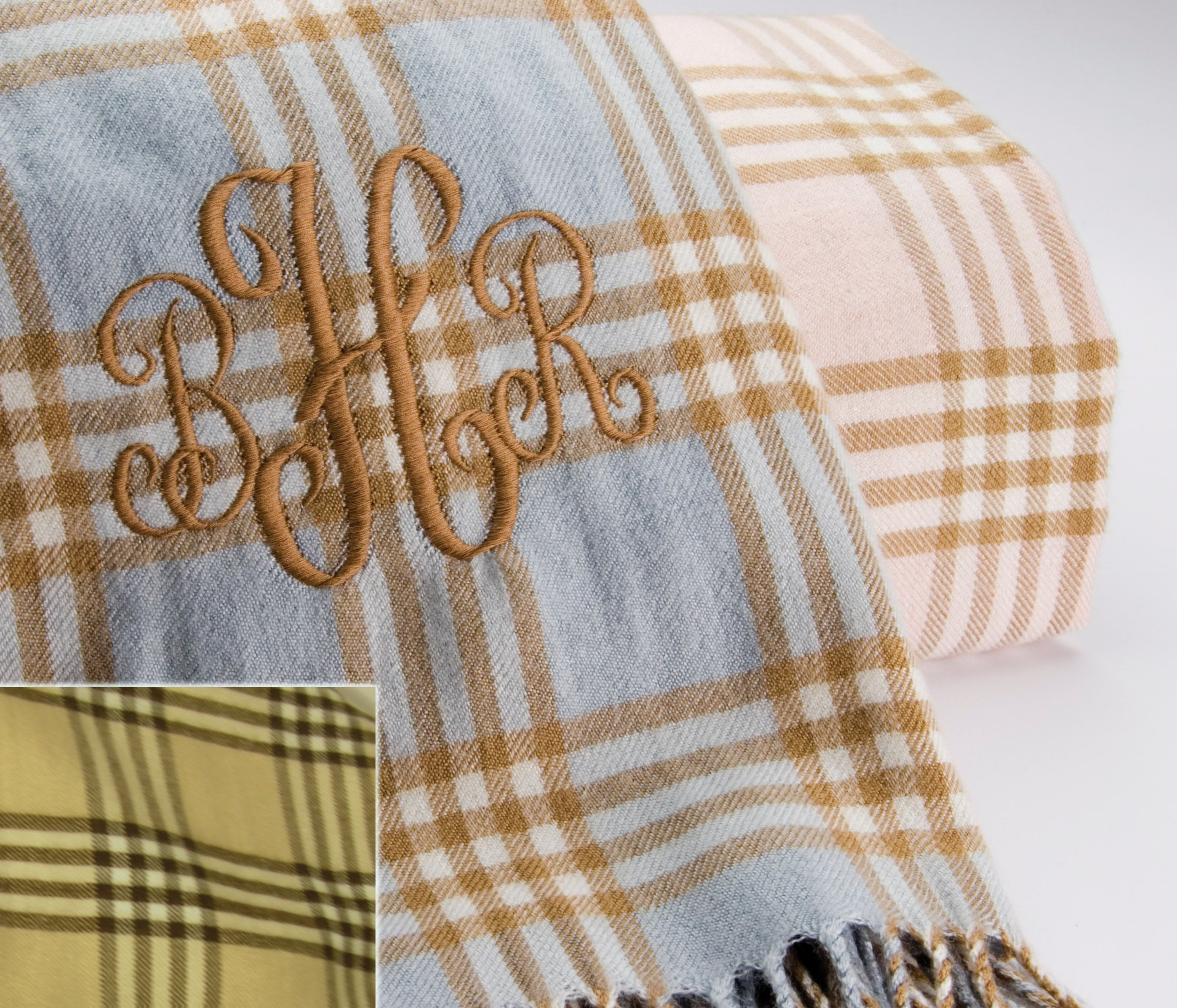 Plaid Monogrammed Baby Blanket