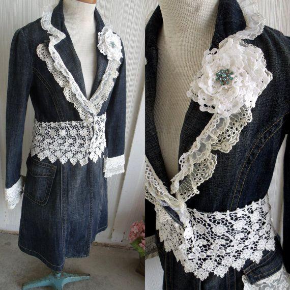 Recycled Denim Jacket Vintage Laces Romantic by SweetRepeatVintage