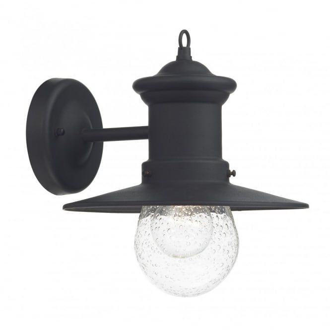DAR Sedgewick Black Iron Finish Outdoor Wall Light / Down Facing Lantern,