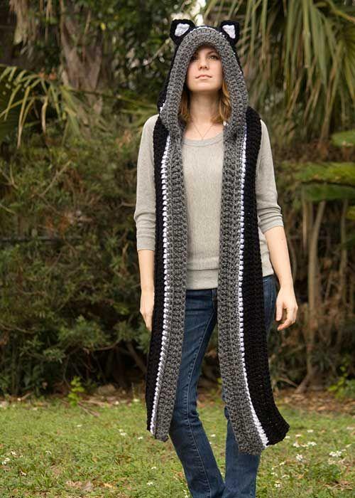 Hooded Cat Scarf Crochet Pattern   crochet scarves   Pinterest ...