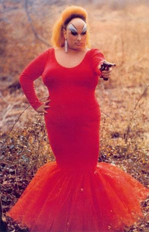 "#Divine / 1972.  Starring in John Waters' 1972 film Pink Flamingos, drag queen Divine subverts gender norms and the long-standing connection between ""beauty"" and thinness.  #subvert1970s #drag"