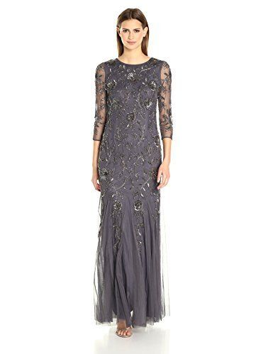 8cba1b16108 Adrianna Papell Women s L s Beaded Mermaid Long Gown Long sleeve beaded  round neck mermaid gown with floral beading.Elbow sleeve dress long evening  mother ...