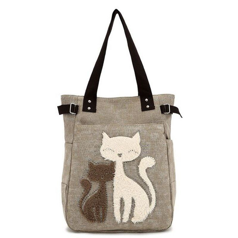 2017 Fashion Women's Handbag Cute Cat Tote Bag Lady Canvas Bag ...
