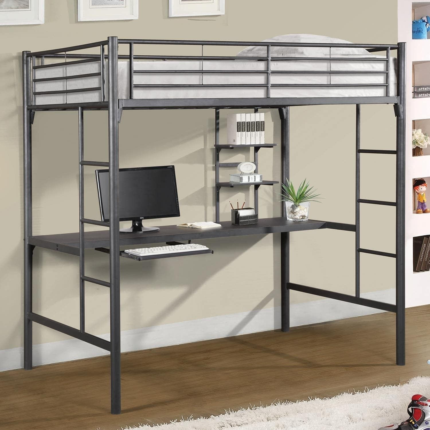 Home source bedroom furniture metal twin loft bed with workstation