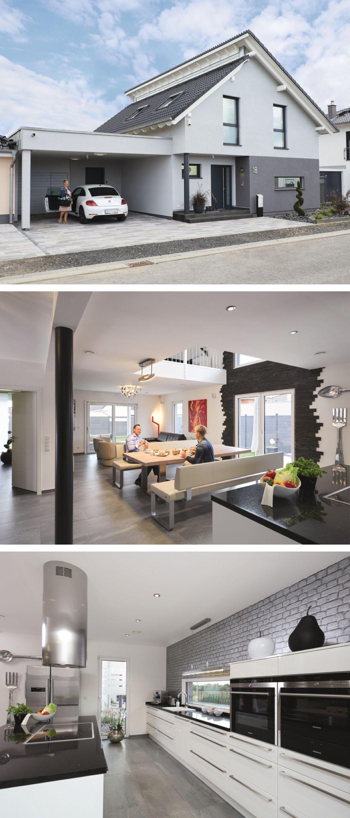 Modernes Pultdach-Haus mit Galerie und Carport - Einfamilienhaus ...