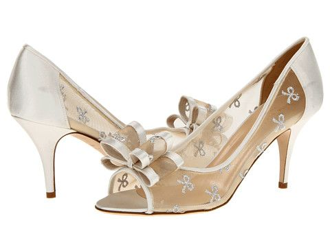 f2a6b5c0743e Kate Spade New York Salina Silver Bow Mesh Ivory Satin - Zappos Couture