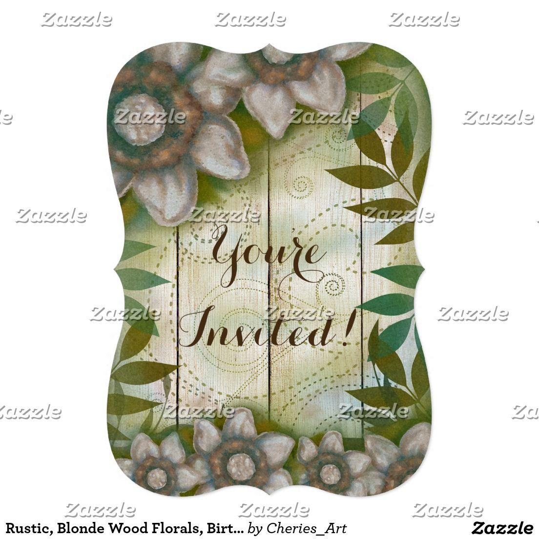 Rustic, Blonde Wood Florals, Birthday Invitations | WEDDINGS ...