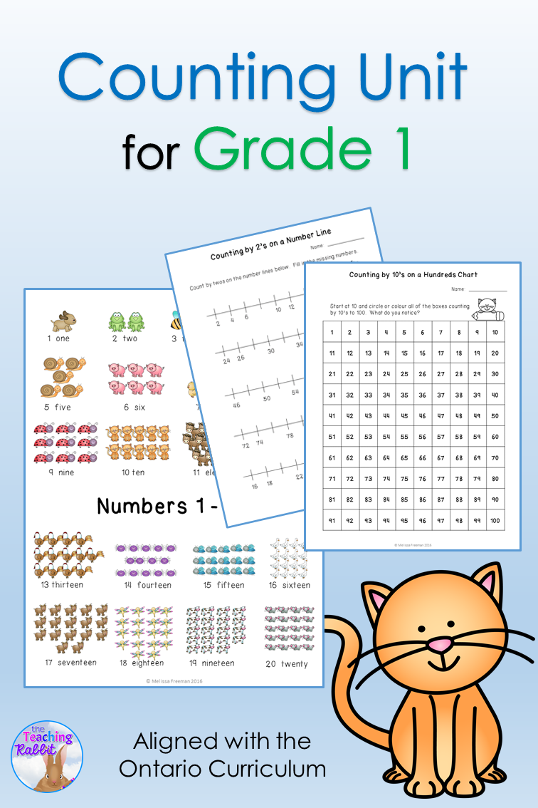 This Counting Unit for first grade is aligned with the Ontario Curriculum and includes lesson ideas, activities, worksheets, number cards, number lines, and a quiz.