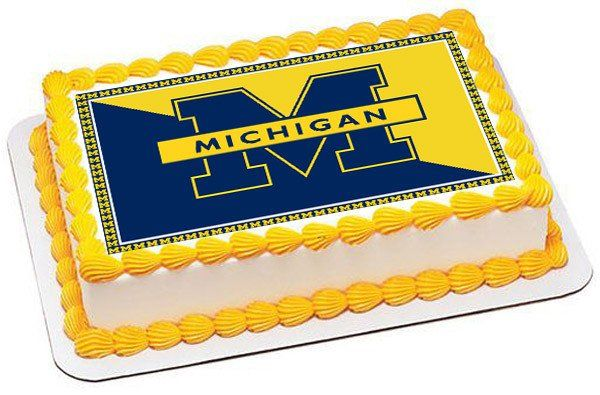 University Of Michigan Edible Birthday Cake Topper Or Cupcake Decor