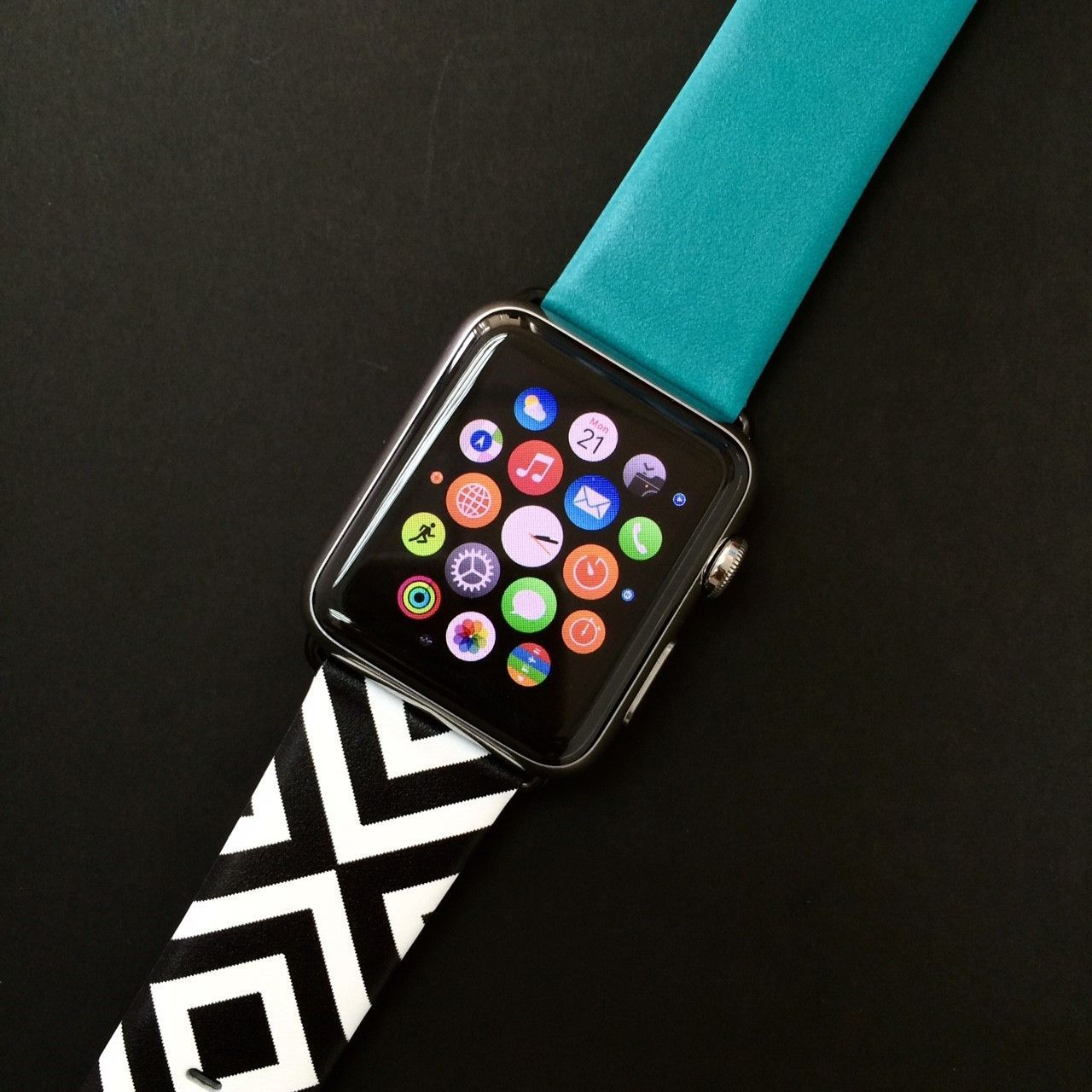Cyan with Black White Chevron cr68 watch band in 2019