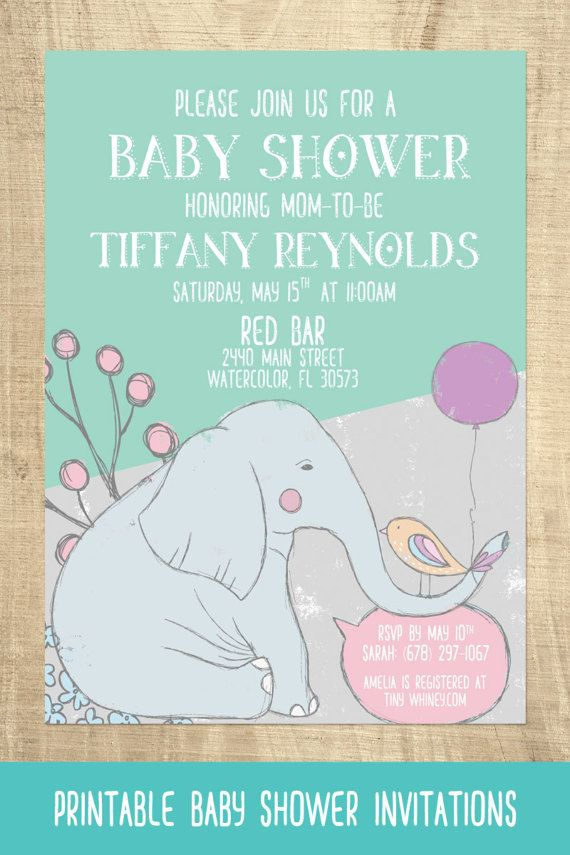 Elephant Baby Shower Invitations- Choice of pink, blue, or mint ...