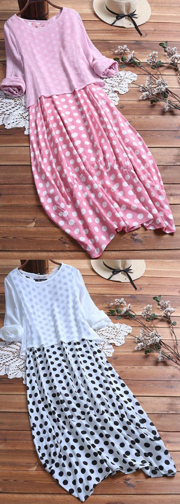 Hot Sale!Polka Dot Long Sleeve Women's Two Piece Plus Size Dresses -   19 diy storage for kids ideas