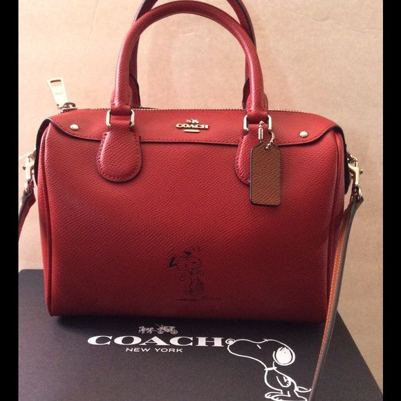 Coach Snoopy Red Leather Mini Bennett Satchel NWT NWT   Red ...