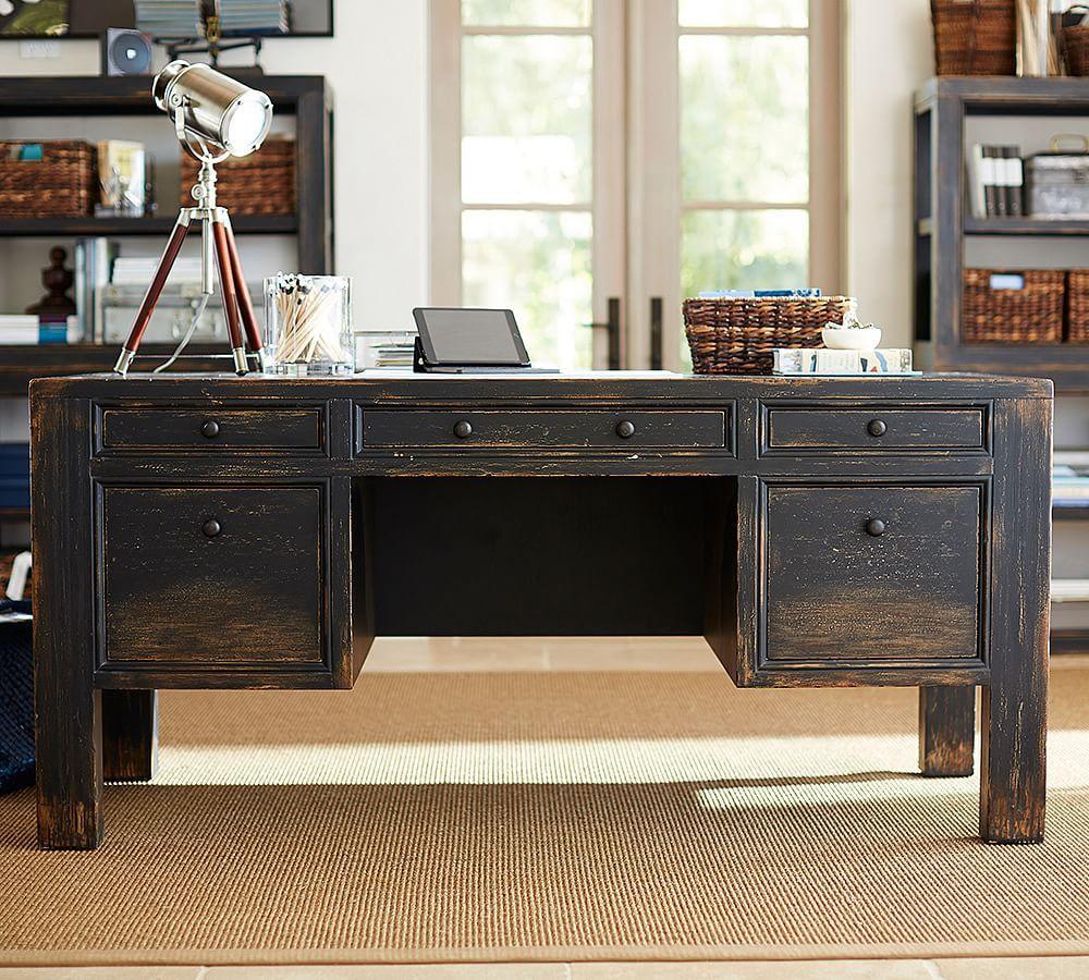 Dawson wood desk large weathered black finish wood