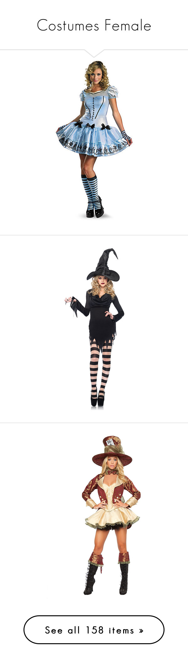 """""""Costumes Female"""" by thamaravilhosa88 ❤ liked on Polyvore featuring costumes, dresses, halloween costumes, multicolor, alice in wonderland costume, womens halloween costumes, sexy alice costume, sexy lady costumes, womens alice in wonderland costume and womens witch costume"""