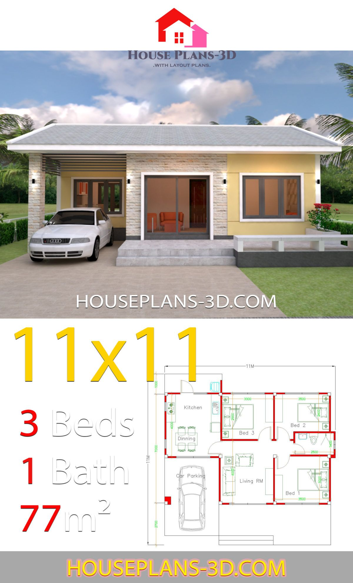 Simple House Design Plans 11x11 With 3 Bedrooms Simple House Design Simple House Home Design Plans