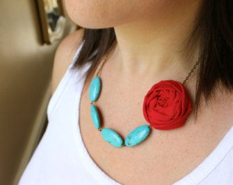red and turquoise fabric on Etsy, a global handmade and vintage marketplace.