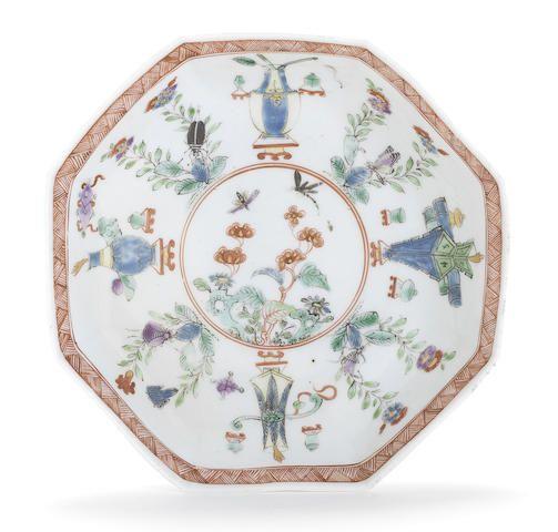 A Worcester Octagonal Saucer, Circa 1753 After A Chinese