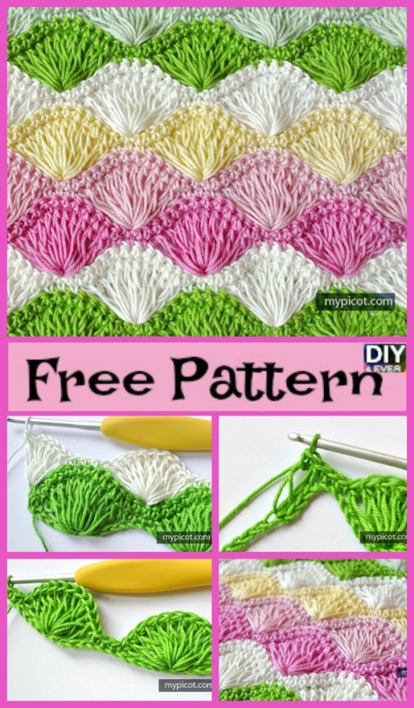 Long Loop Crochet Shell Stitch - Free Pattern #crochetstitches