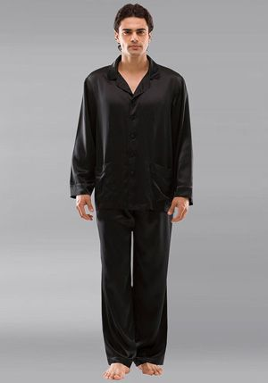 Alion Mens Luxury Silk Nightwear Pajama Set Short Sleeve Loungewear Top Short Pants