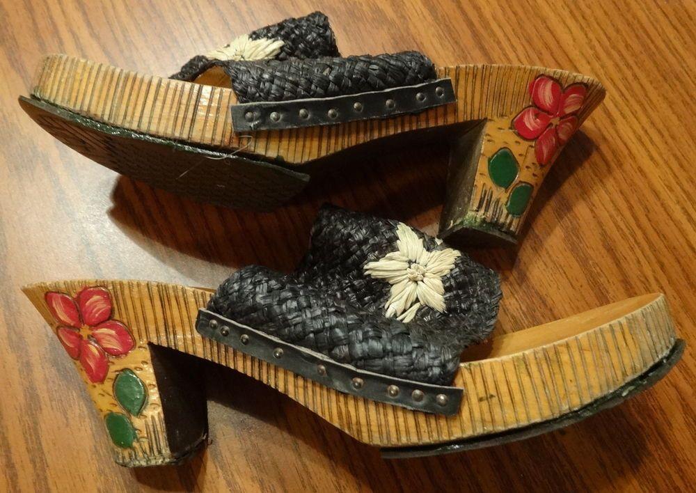 VINTAGAGE Womens 1950s Wood Platform Clogs Slides Shoes Painted Design Woven 8m #Heels