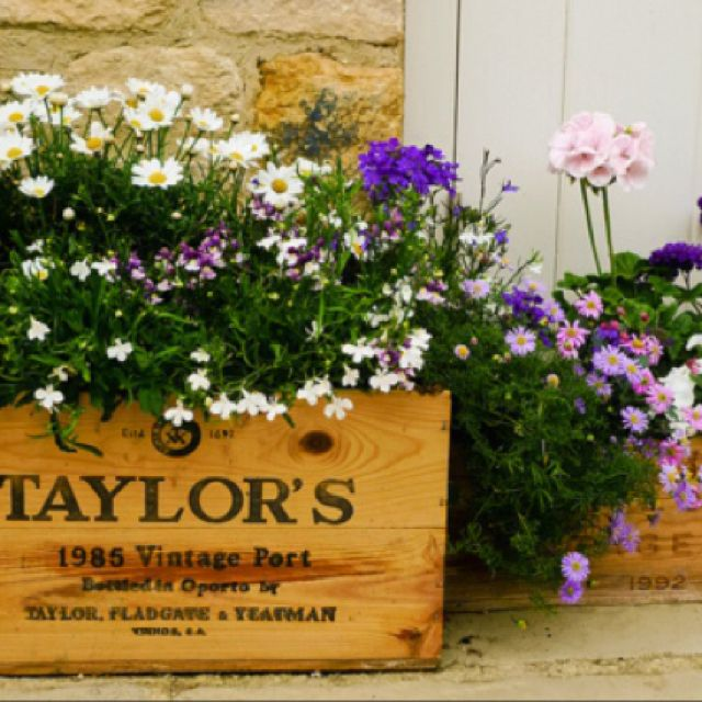 Vintage wine crate container garden please visit www for Where can i find old wine crates