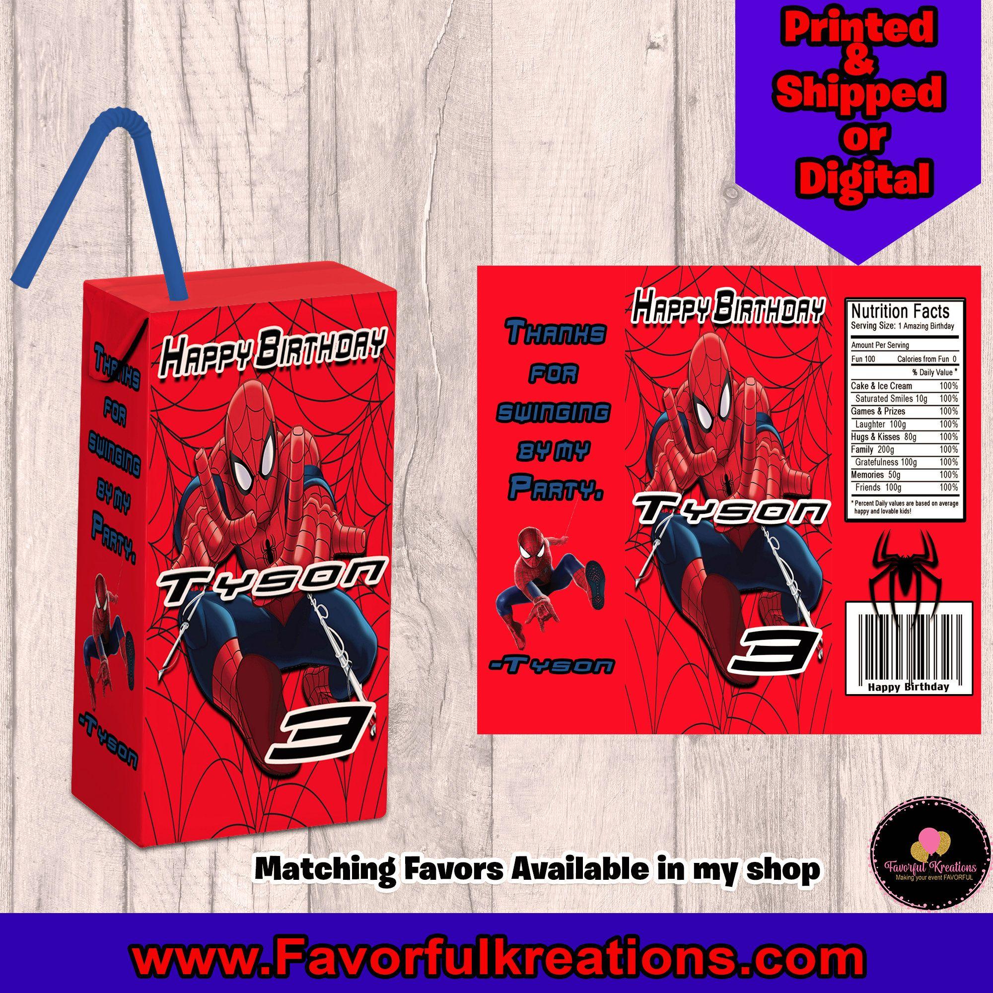Spiderman Juice Labels-Custom Capri Sun-Spiderman Party-Printable-Digital-Spiderman Capri Sun-Printable Favors-Spiderman