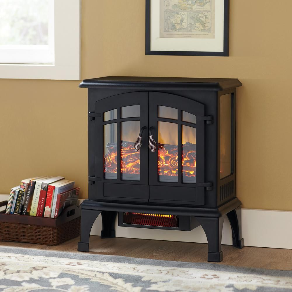 Hampton Bay Legion 1 000 Sq Ft Panoramic Infrared Electric Stove Est 534t 10 Y The Home Depot Fireplace Heater Electric Fireplace Heater Electric Stove Heaters