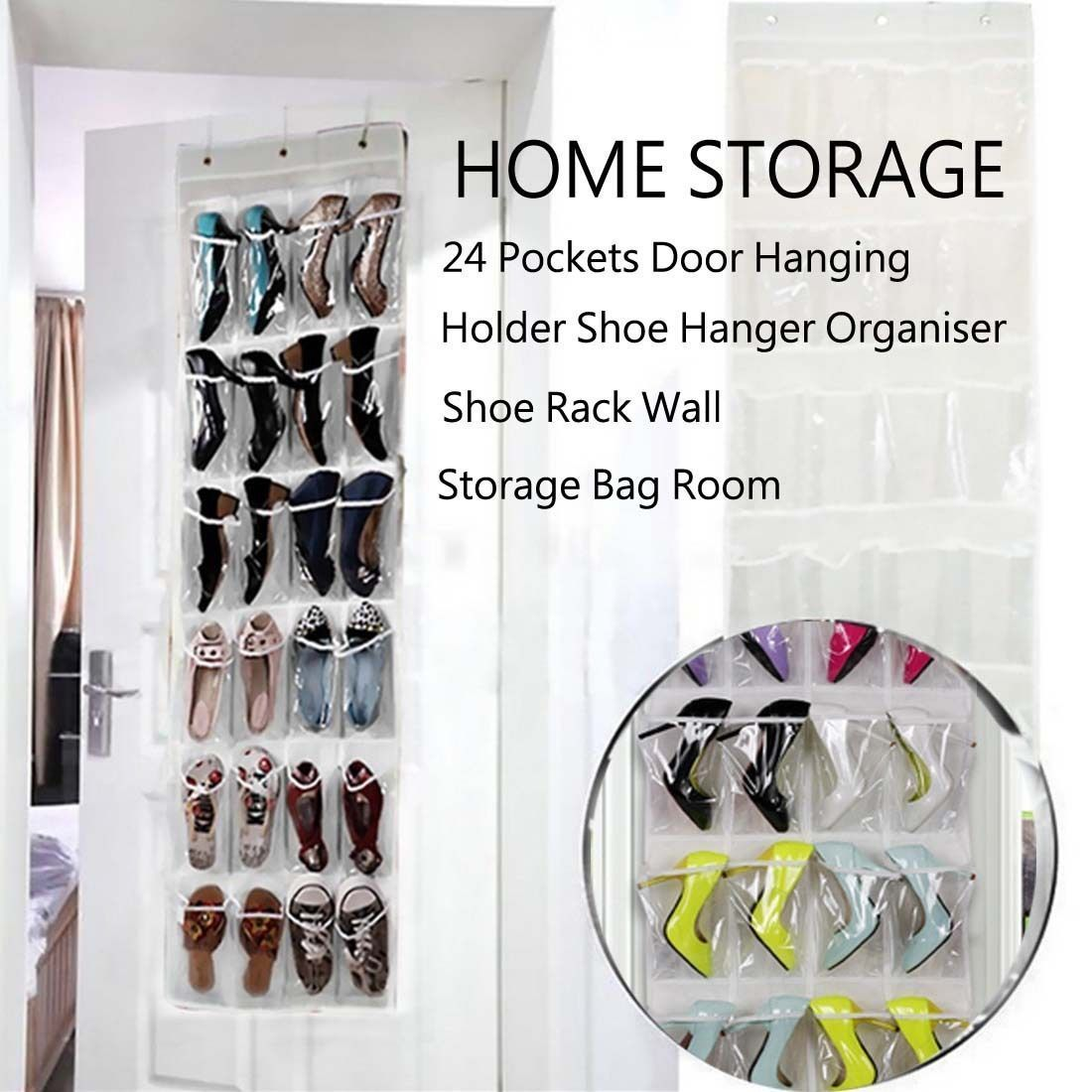 pockets pinkbluewhite clear over door hanging bag shoe rack