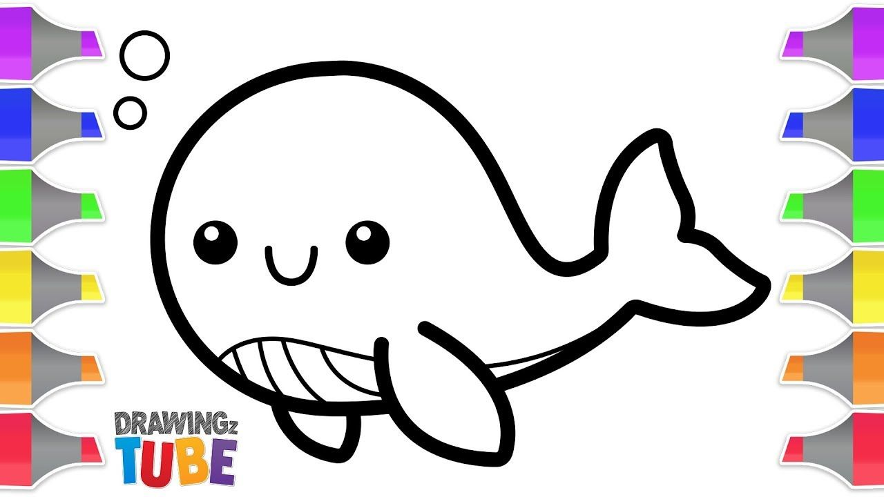 Glitter Baby Whale Coloring Pages Learn Colors For Kids Drawing