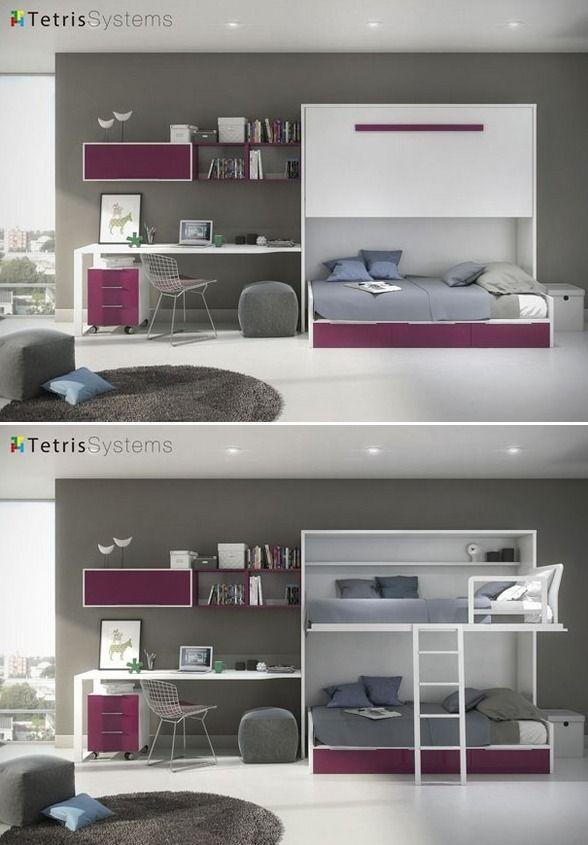 Juvenil cama alta abatible y nido 3 cajones 515 0123 for Habitaciones juveniles abatibles