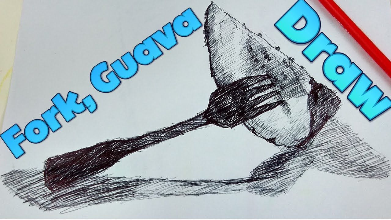 Drawing lesson 159 how to draw a fork with guava step