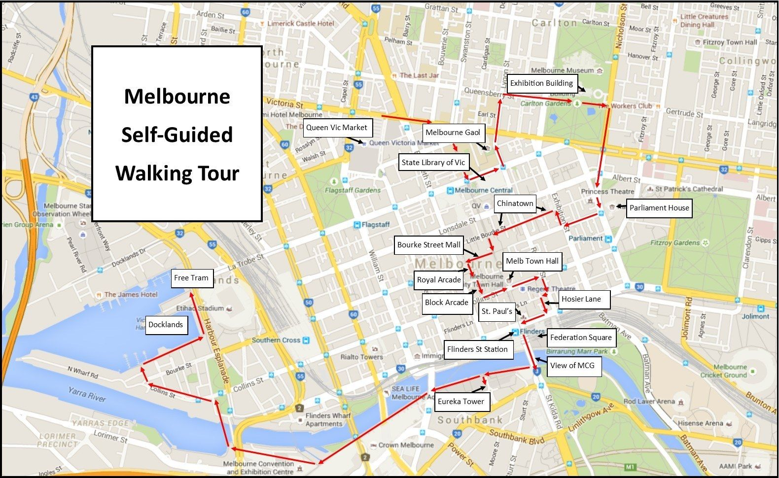 What to See in Melbourne Tourist map Melbourne and Australia