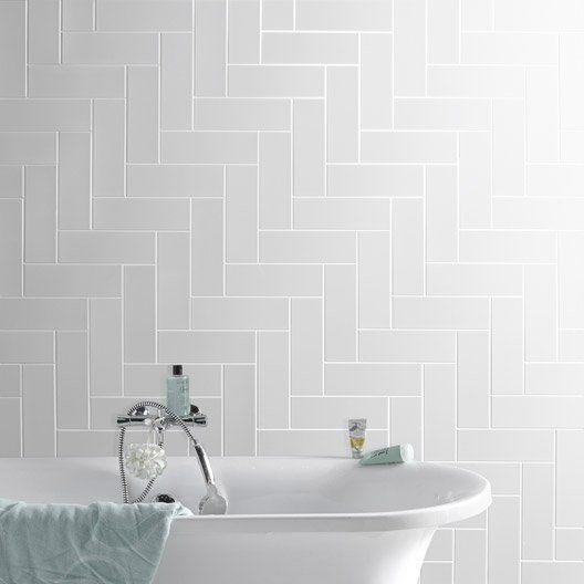 faience_mur_blanc__basic_briquette_l_10_x_l_30_cm salle de bain - Leroy Merlin Faience Cuisine