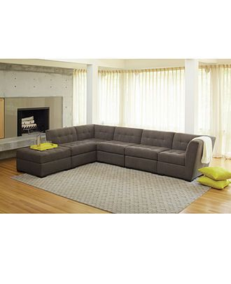 Roxanne fabric 6 piece modular sectional sofa w ottoman for Roxanne fabric 6 piece modular sectional sofa