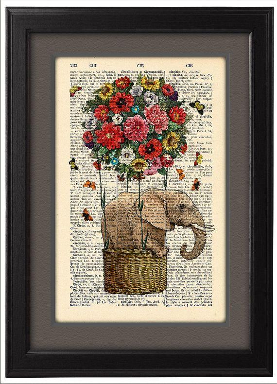 Elephant art poster Flying Elephant, flower hot air balloon ...