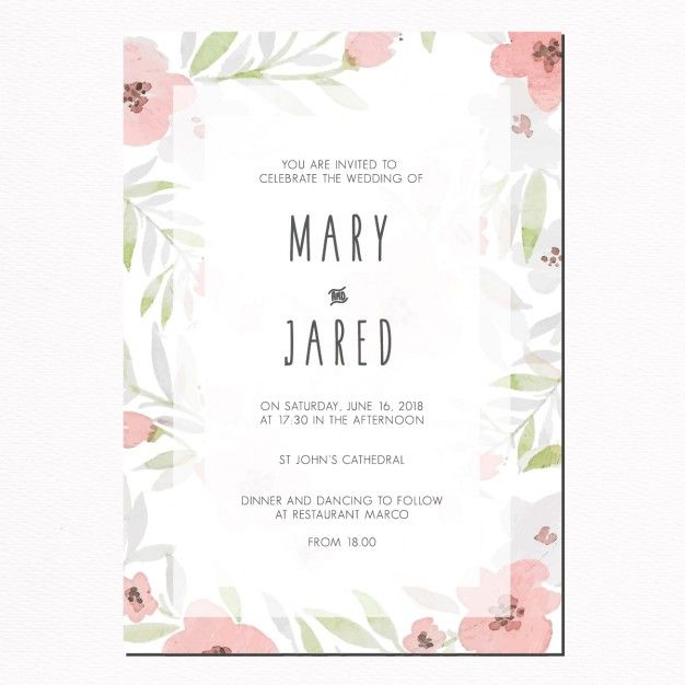 Wedding invitation with leaves and pink flowers free vector wedding invitation with leaves and pink flowers free vector stopboris Image collections