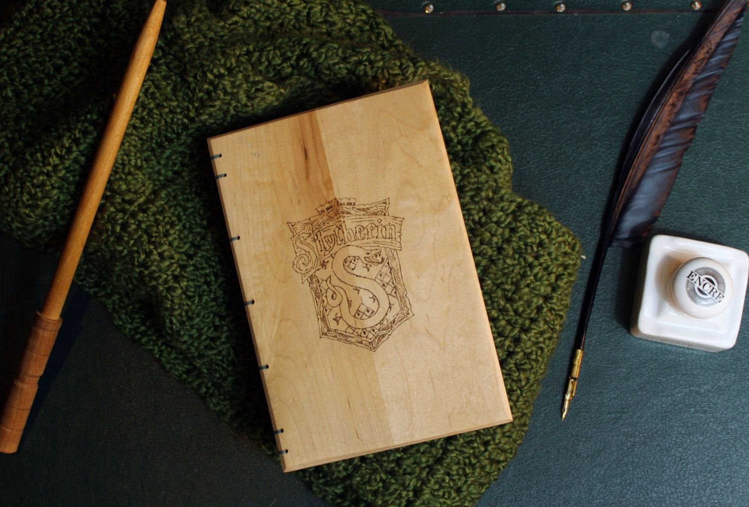 Handbound Wood Covered Journal- Woodburned Slytherin Crest- Harry Potter- Silver and Green Signatures by BowtieAndTheBandit on Etsy