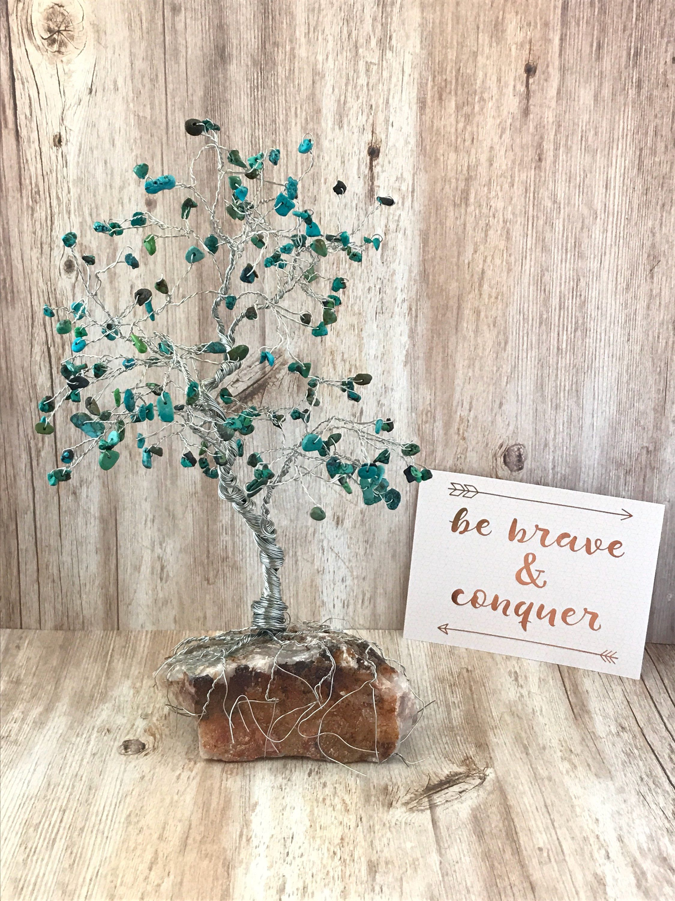 Turquoise Large Gem Tree, Wire Tree Sculpture, Tree of Life, Home ...