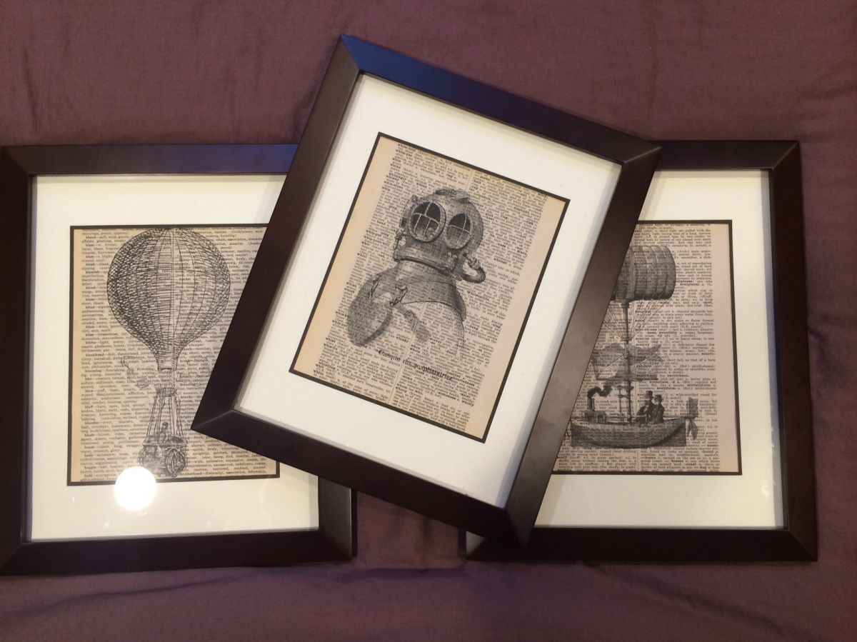 prints on old book pages framed - Prints On Old Book Pages
